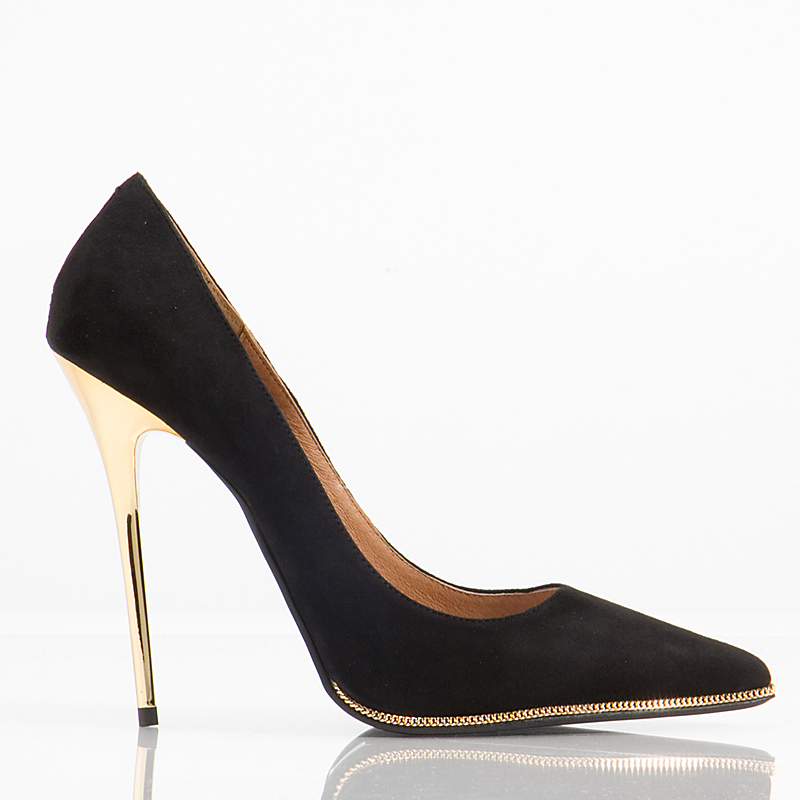 Black Pumps Gold Heel | Tsaa Heel