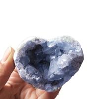 Natural Crystal Heart Celestite Geode Heart Drusy Cluster Blue Kyanite Crystal Jade Quartz Mineral