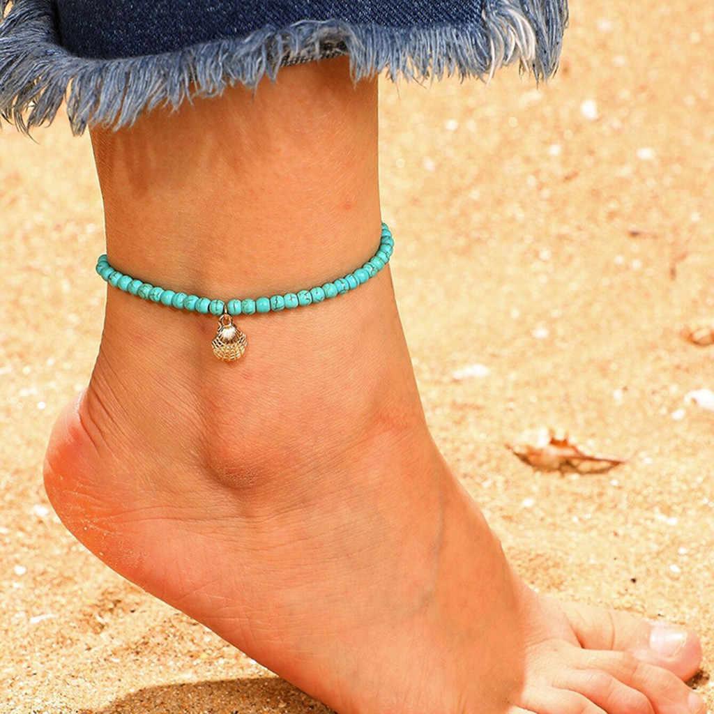 OTOKY עכס אופנה ירוק חרוזים Cowrie מעטפת צמיד לנשים צמיד על רגל קרסול שרשרת רגל תכשיטי צמיד 19May24