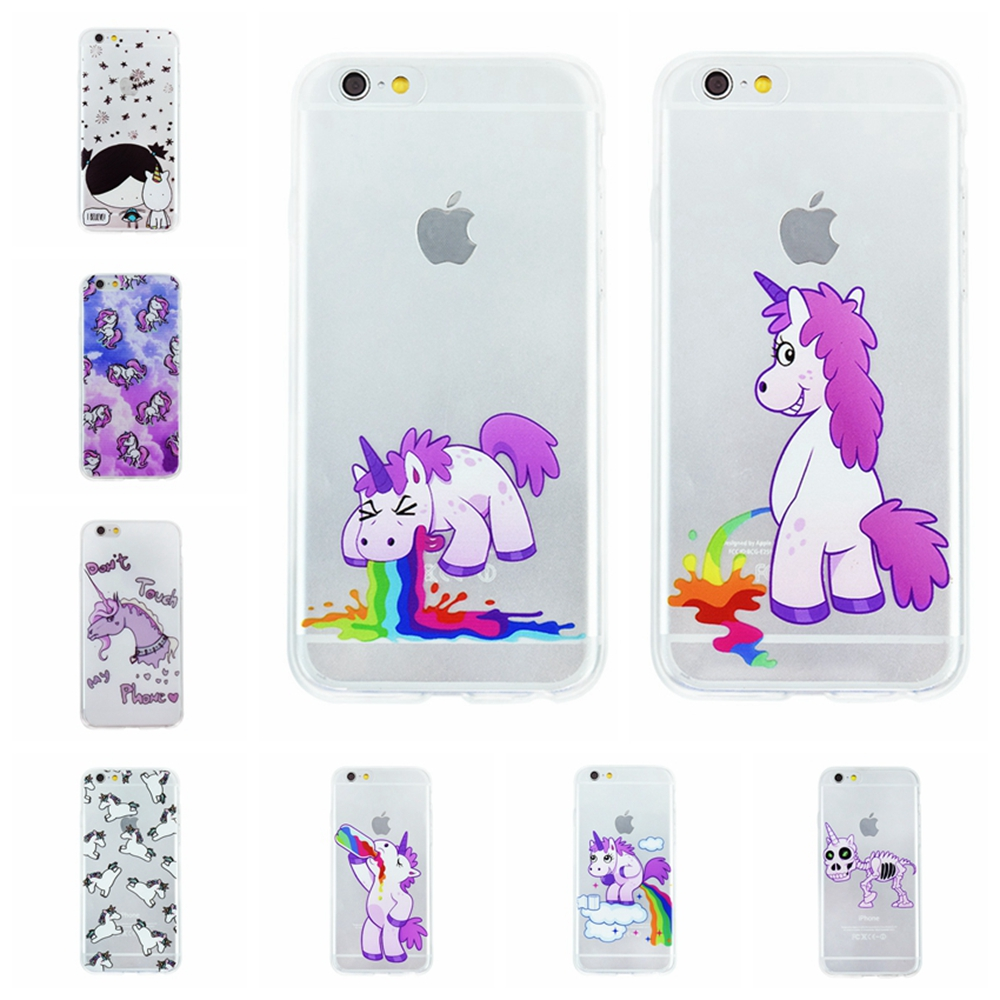 OWNEST Phone Cases for Iphone new cute Unicorn Case Cover for apple iphone 7 7 Plus 5 5s 6 6s soft silicone tpu coque fundas