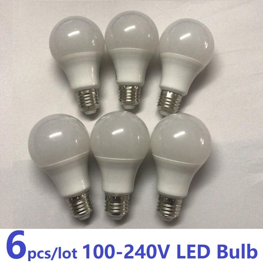 6pcsAC100v-240v E27 LED Lamps Cool White/Warm White Domestic Interior Bulbs Constant Current Driver Power 100/110/240v Lighting