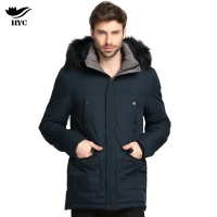 HAI YU CHENG Brand Removable Hood Long Casual Business Male Outerwear Thick Fur Parkas Windbreaker Winter