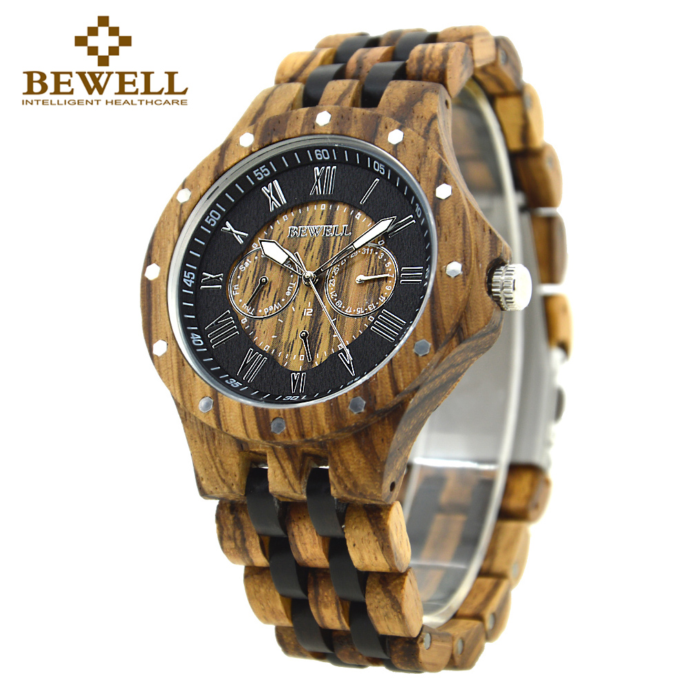 BEWELL Casual Watch Men Wood Watchband Watches for Man Clock Relogio Masculino Auto Date Week Wristwatches Paper Box 116C 2017 new sale mechanical man watch relogio masculino gold white watchband automatic date week movt waterproof mans wristwatches
