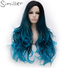 Similler 26inch Heat Resistant Fiber Hair Dark Root Ombre Blue Highlight Body Wave Synthetic Wig For Women Cosplay(China)
