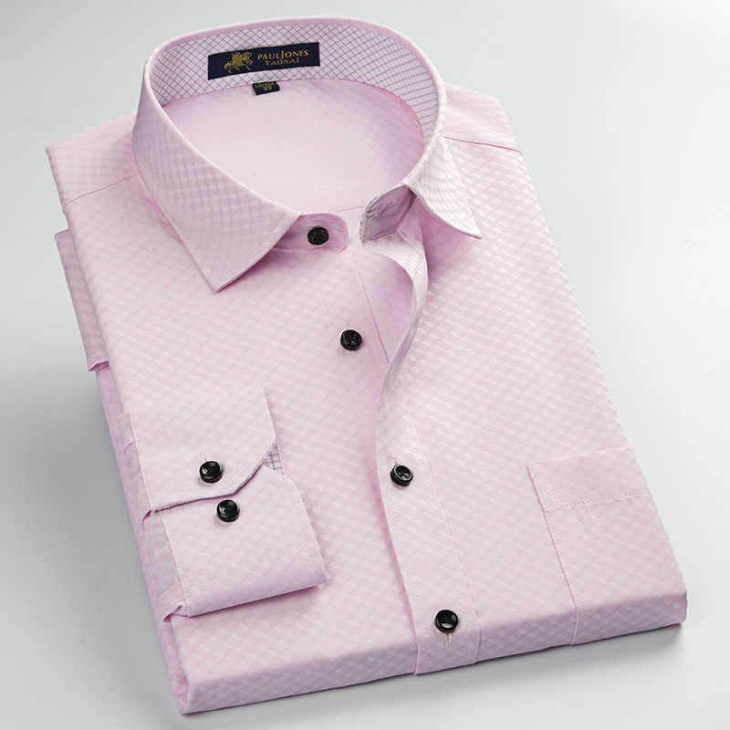 Высокое качество мужские формальные деловые рубашки для мужчин офисная/Рабочая одежда классический дизайн удобные ткани против морщин