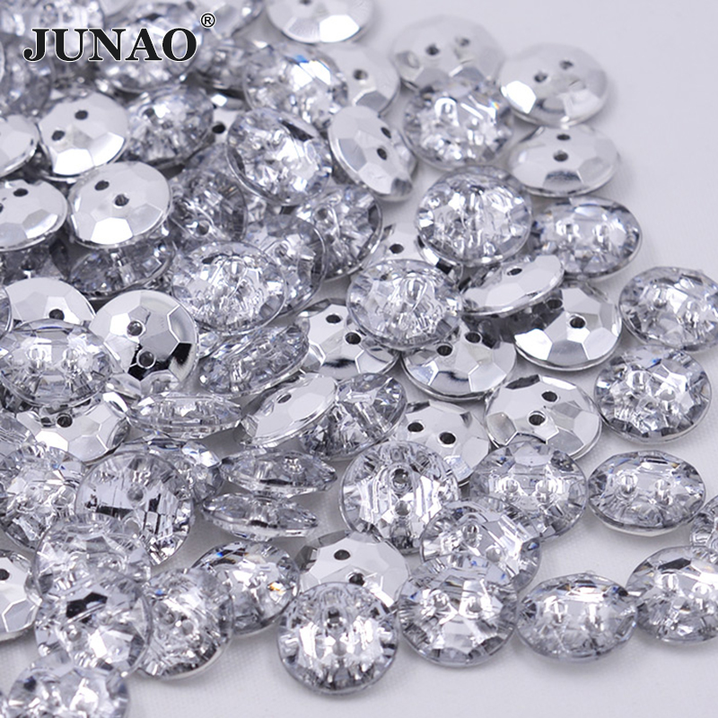 Home & Garden Junao 13mm Clear Rhinestones Buttons Sew On Round Acrylic Button Point Crystal Stones For Clothes Shirt Decoration Accessory Apparel Sewing & Fabric