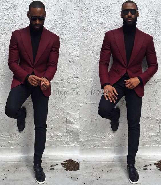 High Quality 2017 Elegant Brand Suits Slim Fit Groom Burgundy Tuxedo ...