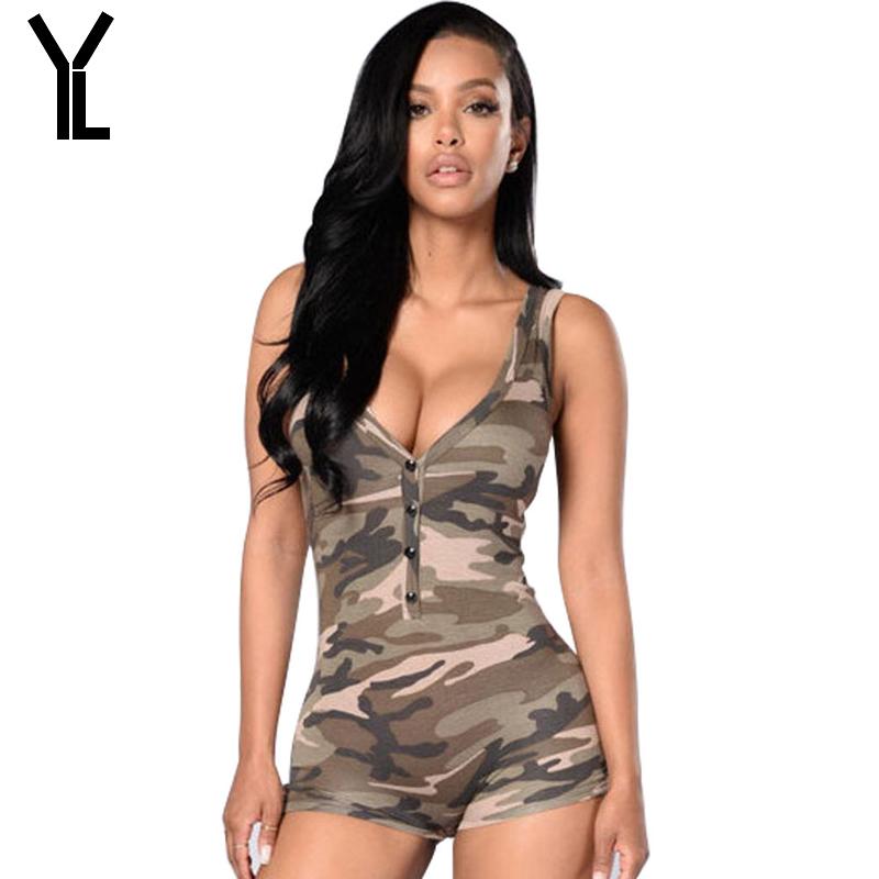 2018 Women Jumpsuit Fashion Skinny New Style Short Camouflage Jumpsuit Combinaison Femme Sexy Summer Bodysuit