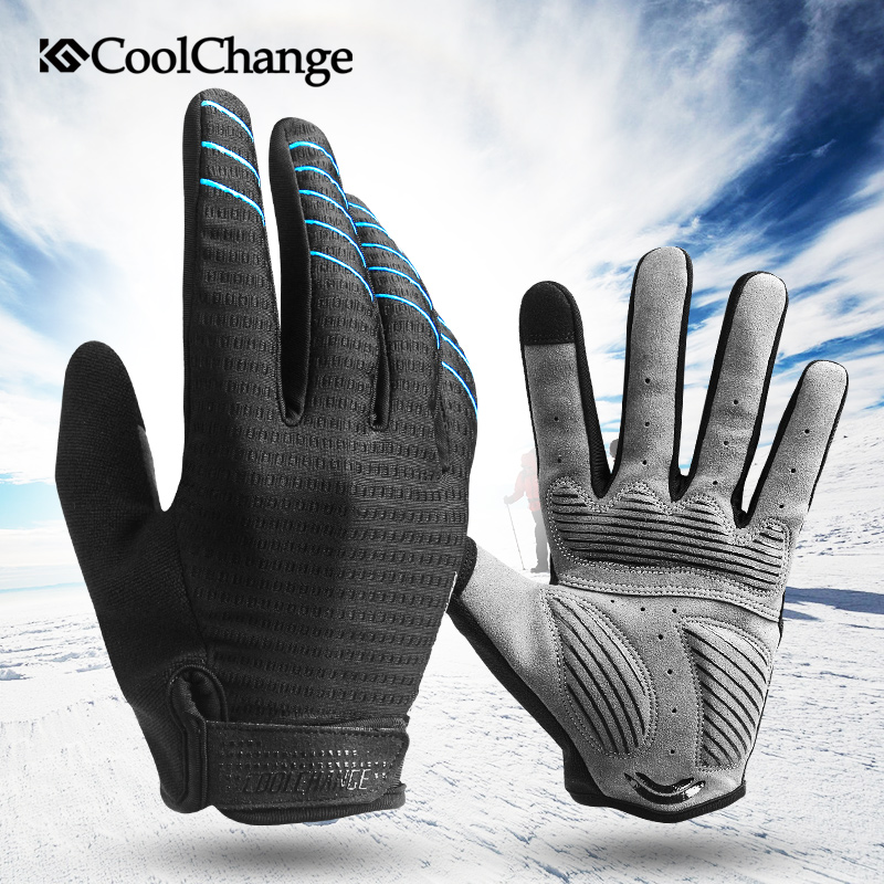 CoolChange Men's Cycling Gloves Long Finger Gel Pad Sport MTB Bike Touch Screen Bicycle Full Finger Glove Guantes Ciclismo