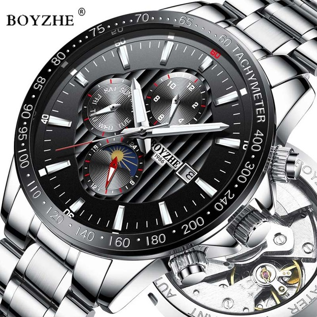 Luxury Brand Automatic Mechanical Watch BOYZHE Men Luminous Hands Stainless Steel Business Waterproof Watches Relogio MasculinoLuxury Brand Automatic Mechanical Watch BOYZHE Men Luminous Hands Stainless Steel Business Waterproof Watches Relogio Masculino
