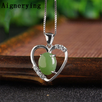 Fine jewelry Sterling 925 silver Infinity Precious Certificate Green Jade for Women/Men Necklaces Supply Vintage Pendant
