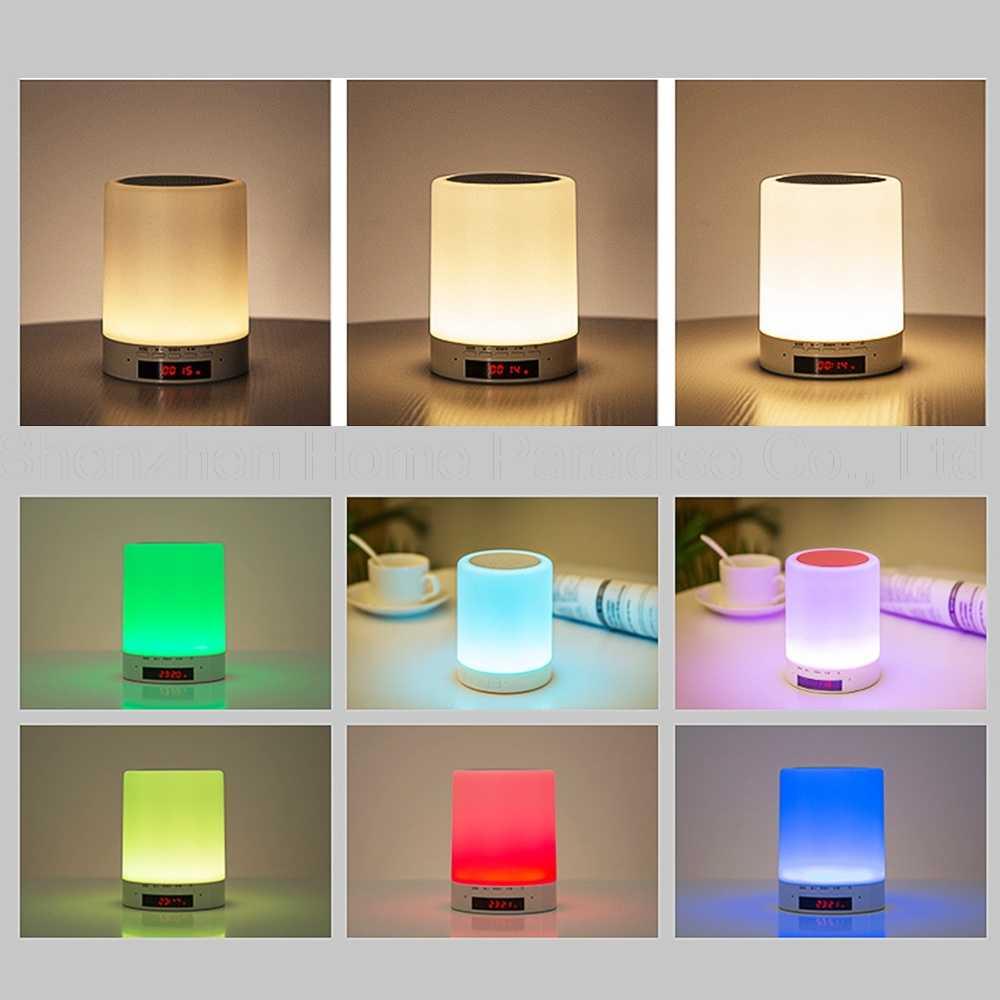 Сенсорный контроль будильника беспроводной Bluetooth динамик ночные огни цифровой будильник светодиодный проснуться свет настольные часы домашний декор
