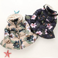 Girls Winter Jacket Print Flower Children's Parkas For Girl Winter Hooded Coat Fashion Kids Warm Outerwear 3 4 6 8 10 Years