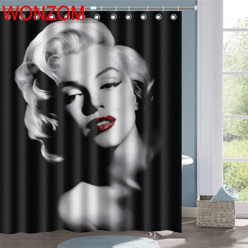 Wonzom Polyester Tissu Bain Rideau Sexy Deesse Impermeable Rideau De Douche Salle De Bain Decor 3d Marilyn Monroe Decoration