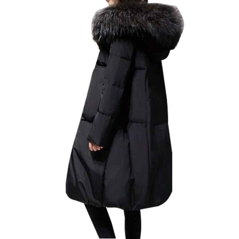 d2a96908a52 Plus Size 5XL 100kg 2018 Winter Women Loose Thick Warm Jacket Female Faux  Fur Collar Hooded