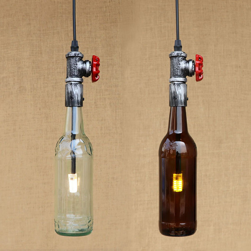 American industrial creative pendant light,water pip& wine bottle lampshade retro hanging lamp for restaurant bar light fixture smad 28 bottle wine chiller cellar bar