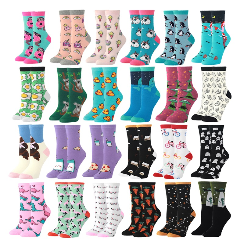 Cute Fashion Soft Novelty Cotton Women Socks Unicorn Duck Alien Dinosaur Colorful Cartoon Happy Kawaii Funny Socks For Girl Gift