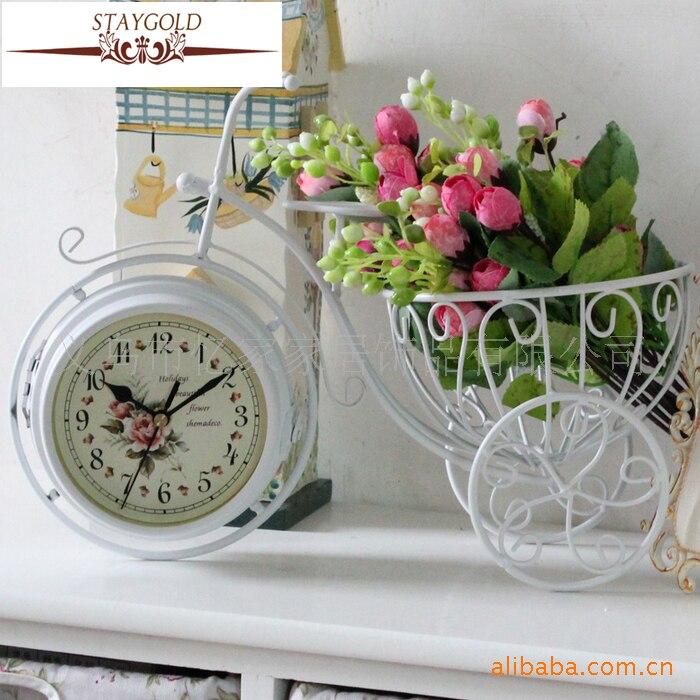 Rétro vélo Double face horloge en métal bureau horloge Tv armoire accessoires de décoration de la maison