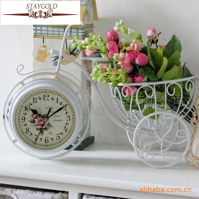 Bicicleta retro Reloj de doble cara Reloj de metal Reloj de TV - Decoración del hogar