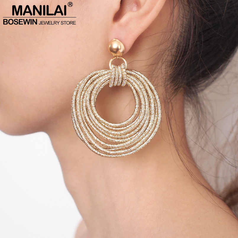 MANILAI Vintage Metal Round Multilayer Dangle Earrings Women Fashion Bohemian Circular Statement Big Earrings Party Jewelry