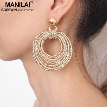 MANILAI Vintage Metal Round Multilayer Dangle Earrings Women Fashion Bohemian Circular Statement Big Party Jewelry