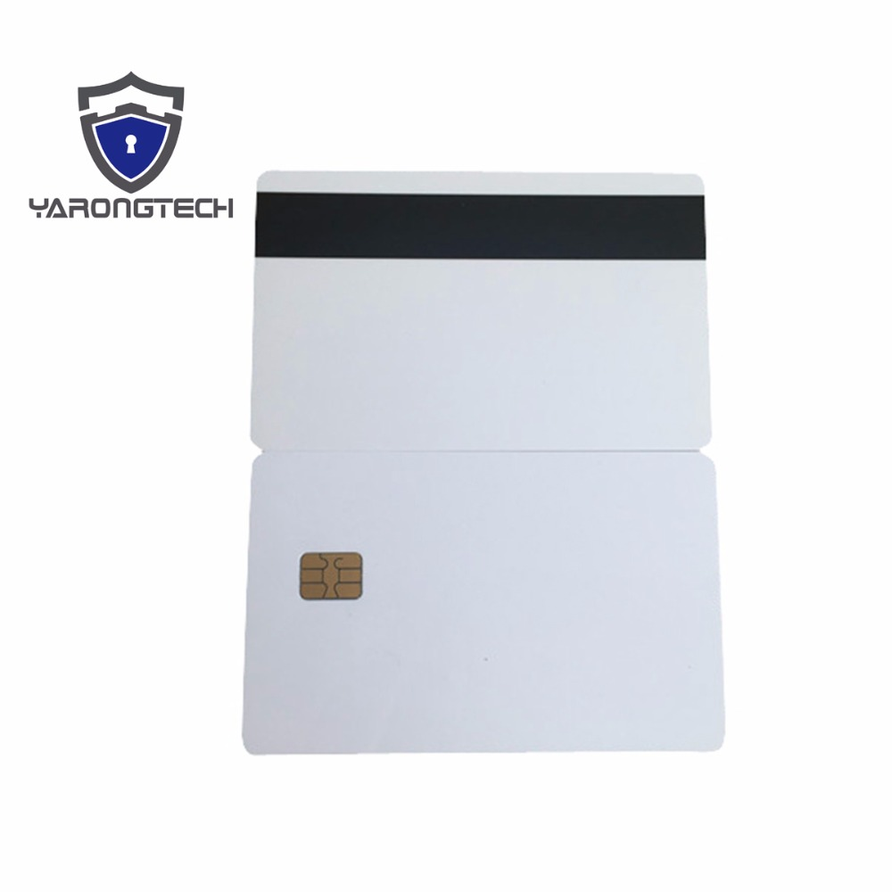 10pcs White SLE4442 contact chip pvc smart card with Hico magnetic stripe 20pcs lot contact sle4428 chip gold card with magnetic stripe pvc blank smart card purchase card 1k memory free shipping