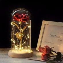 Горячая Красота и чудовище позолоченный красная роза светодиодный светильник в стеклянном куполе для свадебной вечеринки подарок на день матери