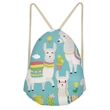 ThiKin Cute Cartoon Animal Alpaca/Sheep Print Drawstrings Bags for Girls Casual Students Backpacks Softback Kids Beach Bags