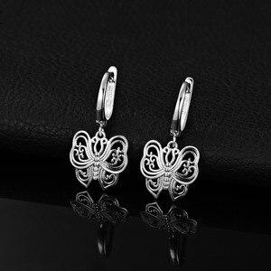Image 2 - JPalace Vintage Butterfly CZ Dangle Drop Earrings 925 Sterling Silver Earrings For Women Korean Earings Fashion Jewelry 2020