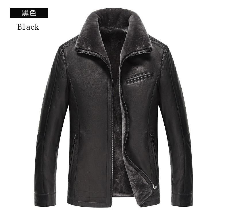 HTB1QWSfKuuSBuNjSsziq6zq8pXai AYUNSUE Men's Genuine Leather Jacket Real Cow Leather Plus Size Cowhide Jackets for Men Natural Lamb Fur Coat L178101 KJ841
