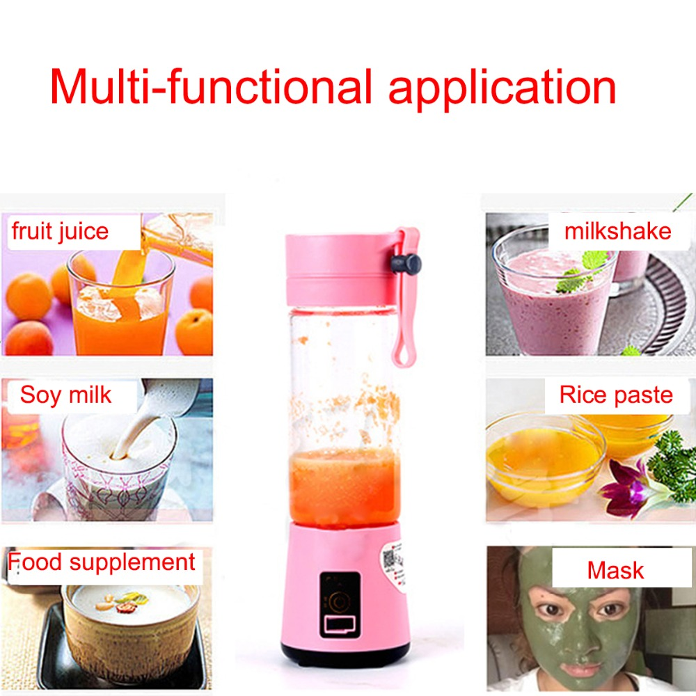 USB Charging 6 Blades Portable Juicer Juice Smoothie Smothie Maker Smoothie Blender Extractor Batidora Be Machine Household