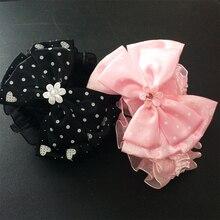 1 Pcs/lot Fashion Bow With Pearl Elastic Headbands Dot Ribbon Bowknot Flower Hairbands Gift