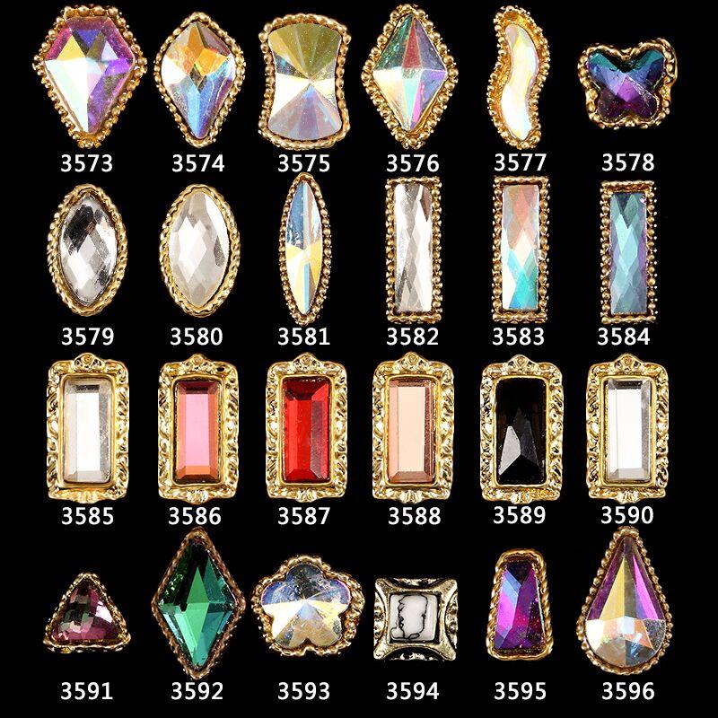 tple 100 pcs prego ab strass colaterais 3d nail art diamante de cristal natator designs manicure