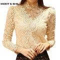Spring  Crochet Lace Embroidery Plus Size Women Base Shirts Beading Elegant Flora Ladies Blouses Vintage OL Blouses T46501