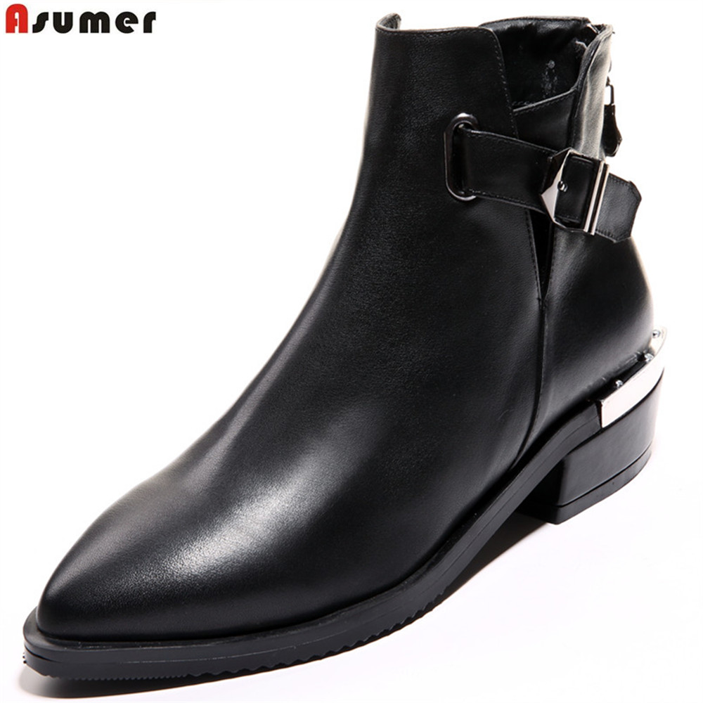 Asumer black fashion genuine leather women boots pointed toe zipper ladies boots square heel buckle leather ankle botos autumn fashion square toe zip genuine leather solid nude women ankle boots thick heel brand women shoes ladies autumn short boots