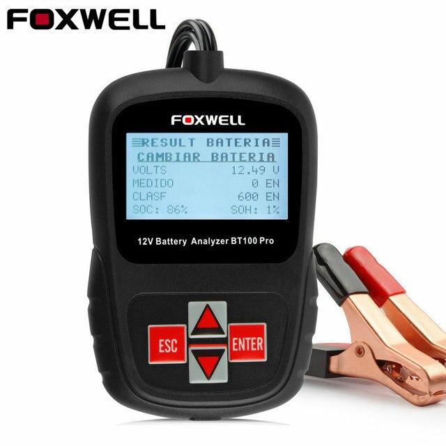 FOXWELL BT100 Pro 12V Digital Car Battery Tester for Flooded AGM GEL 12 Volt Automotive Battery Analyzer 1100CCA Multi language
