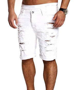 2019 new fashion hole knee lenngth solid summer  Mens Jeans Slim Fit Straight Skinny Fit Denim Trousers Casual Shorts Pants