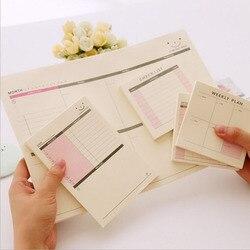 Diário Semanal Planejador Mês Lista de Verificação Portátil Pequeno Livro Memo Pad Sticky Notes Papelaria Material Escolar Papelaria Escolar