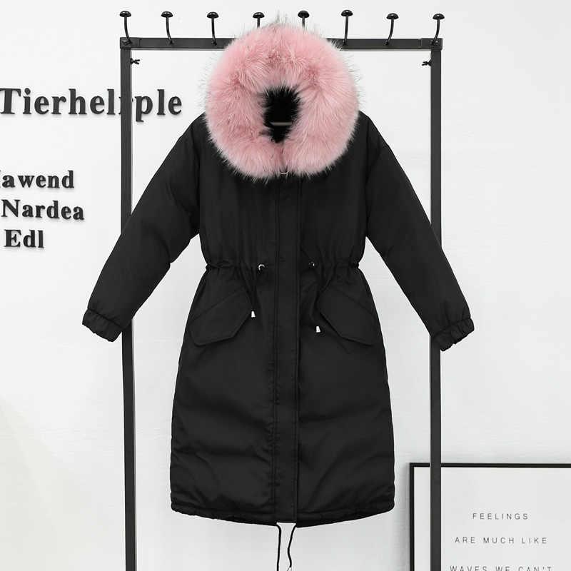 Коллекция 2018 года, новое зимнее пуховое пальто для девочек, длина до талии, длинное утепленное Хлопковое платье с меховым воротником, куртка с капюшоном большого размера