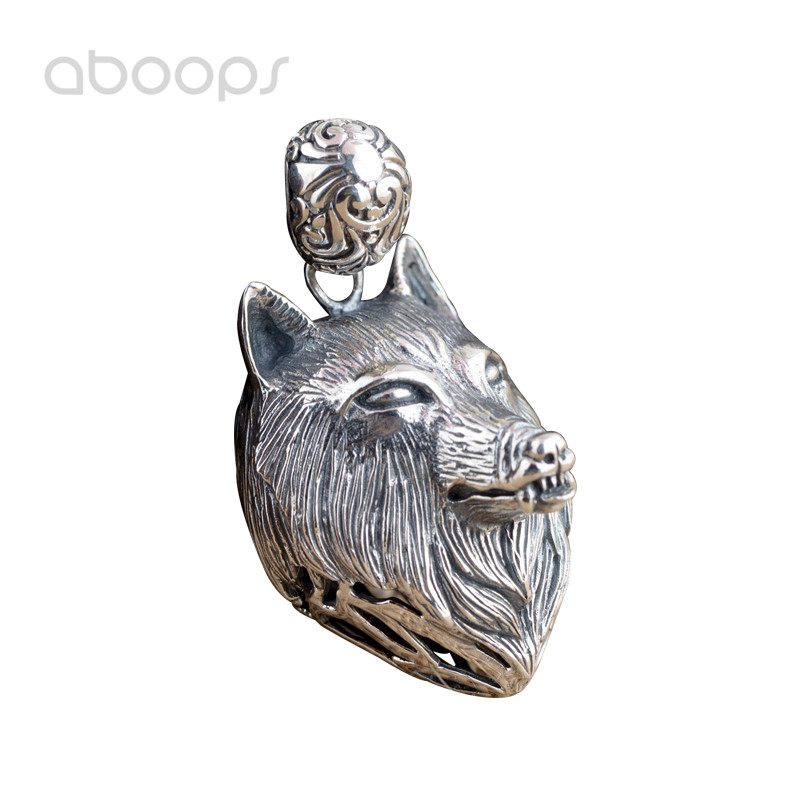 Unique Punk 925 Sterling Silver Hollow Wolf Head Necklace Pendant for Men Free Shipping unique wolf head style zinc alloy car decorative sticker silver
