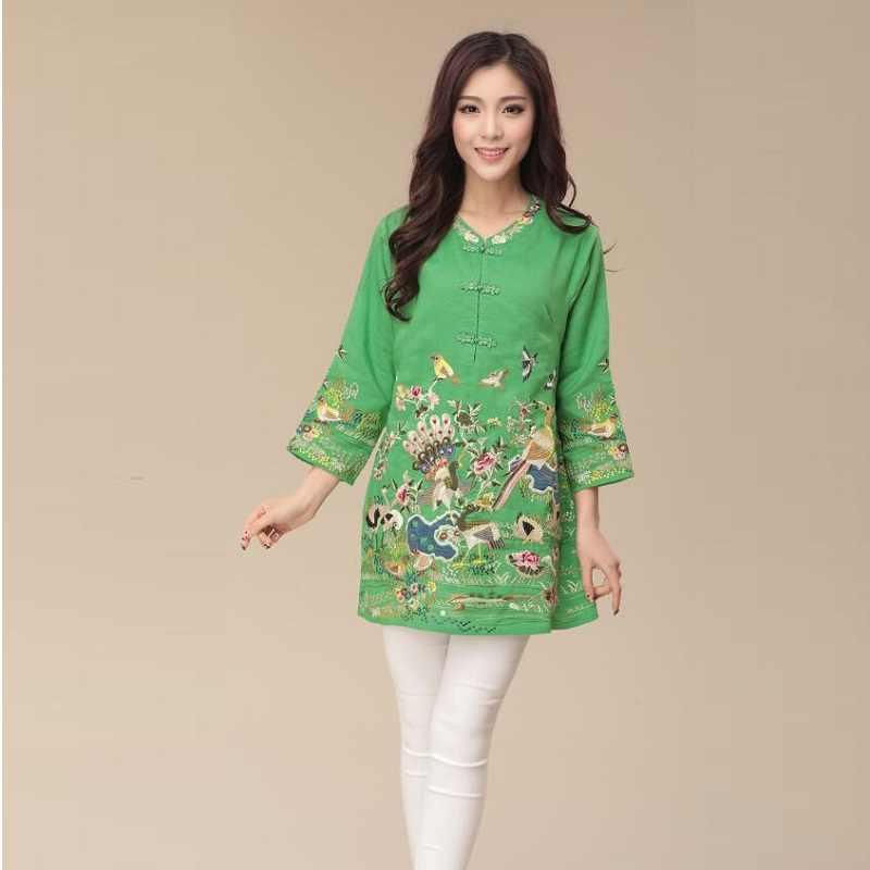 Traditionelle Chinesische Kleidung Frauen Tops Und Blusen Baumwolle Stickerei Lange Retro Vintage Shirt Weibliche Damen Chinesische Tops TA1404