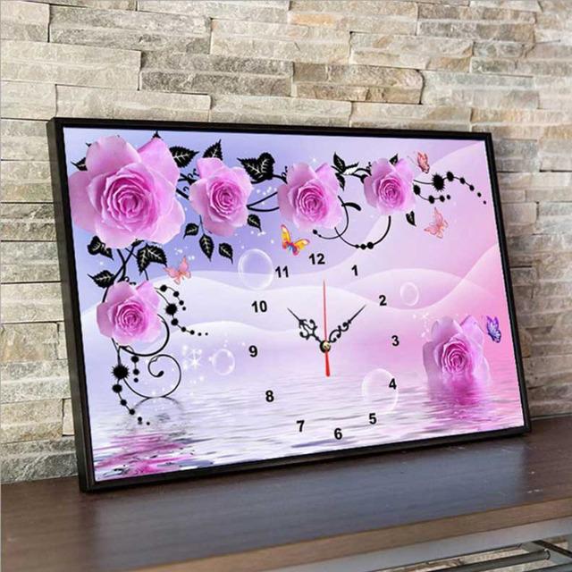 UzeQu Full Diamond Embroidery Wall Clock Purple Peony DIY Diamond Painting Cross Stitch Watch Round Diamond Mosaic Rhinestones