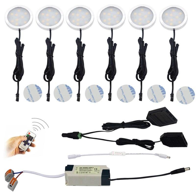 LED de cuisine sous meuble lumière aluminium Puck lumière 6X2 W Direct câblé pour sous éclairage LED pour placard étagère comptoir éclairage