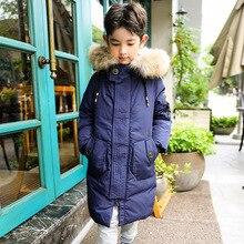 O novo inverno 2018 crianças para baixo do casaco no longa do menino das crianças cuhk edição han roupas casaco quente criança chateado