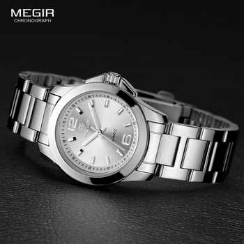 MEGIR Women\'s Simple Round Dial Quartz Watches Stainless Steel Waterproof Wristwatch for woman MS5006L