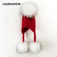 LAURASHOW Real Mink Raccoon Fur Ball Pompoms Beanies Hat Kids Winter Warm Hat Knit Crochet Baby Boys Girls Cotton Children Cap