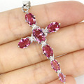 Pretty Long Cross Pink Tourmaline Created SheCrown Woman's Wedding   Silver Pendant 51x27mm