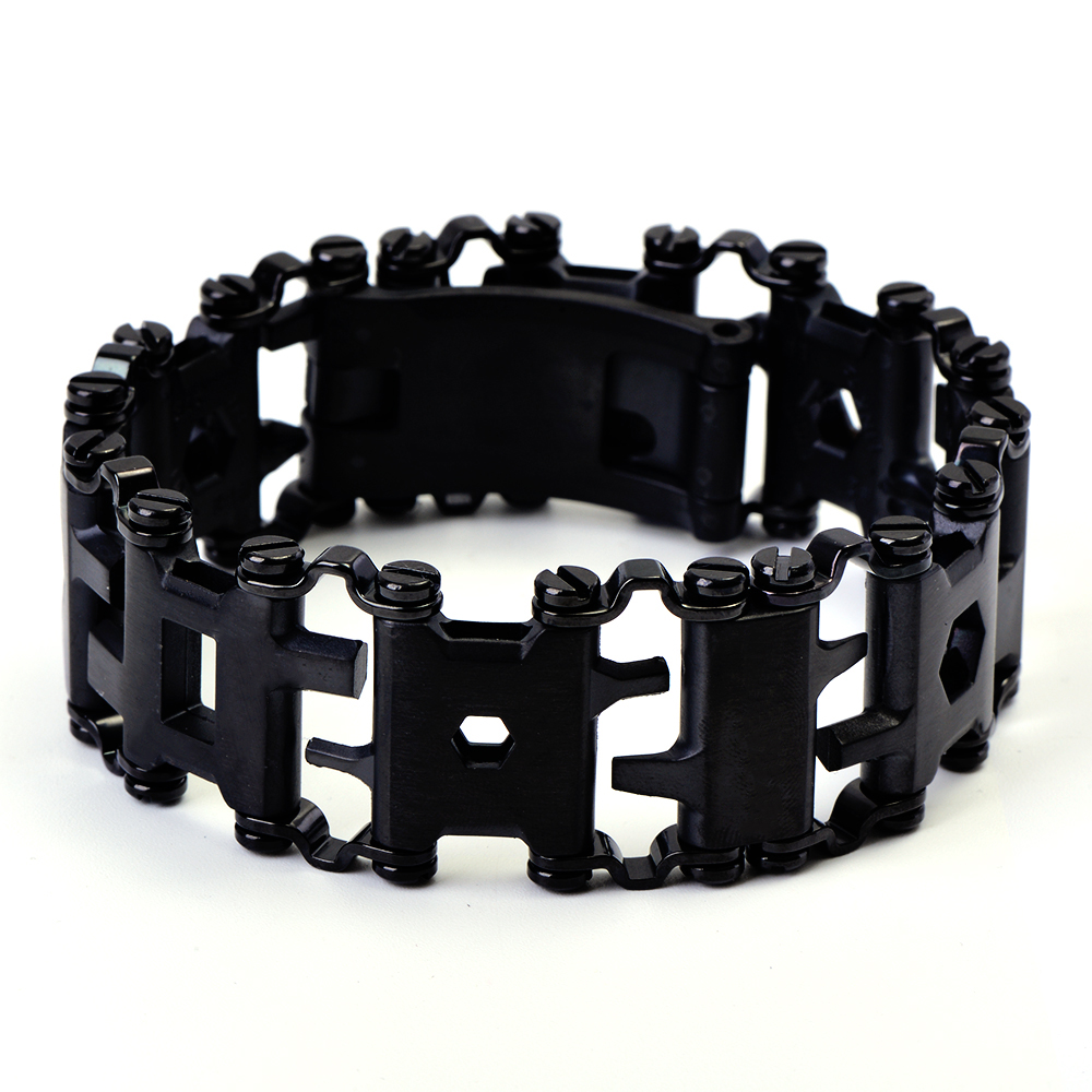 Official Authentic Men Outdoor Tread Multifunctional Bracelets 304 Stainless Steel Walker Wearable Tools Vintage Punk Bracelets trustylan cool stainless steel dragon grain bracelets men new arrival punk rock keel mens bracelets