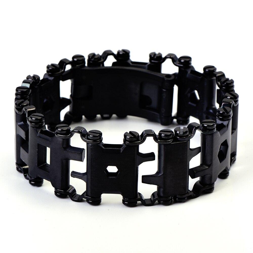 Officiel Authentiques Hommes Extérieur Roulement Multifonctionnel Bracelets 304 En acier inoxydable Walker Portable Outils Vintage Punk Bracelets