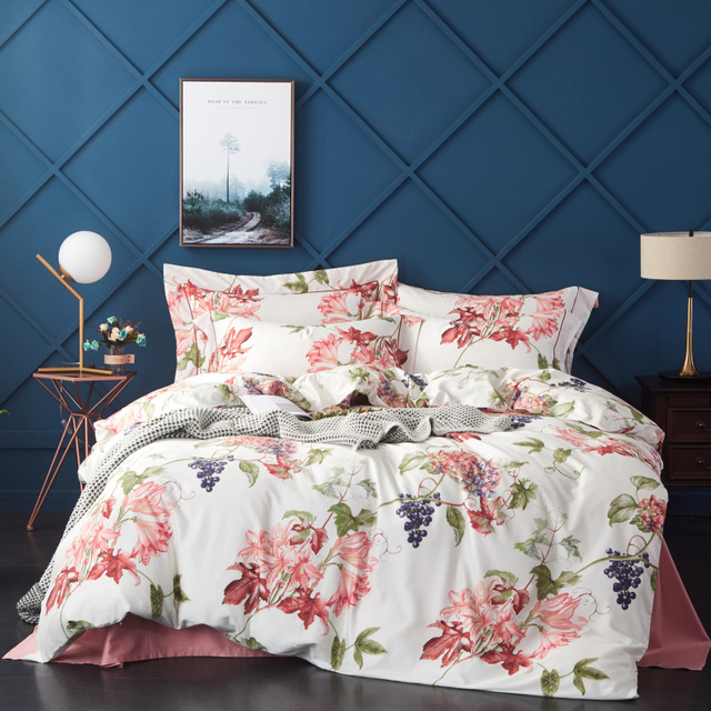 New Egyptian Cotton Bedding Set Printed 2019Bed Set Comforter Bedding Sets Duvet Cover+BedSheet+Pillowcases M-Series Anna Fruit